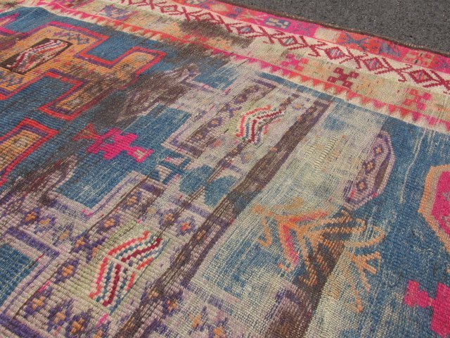 """CAUCASIAN HAND KNOTTED WOOL RUNNER - 12'4"""" x 3'6"""" - 5"""