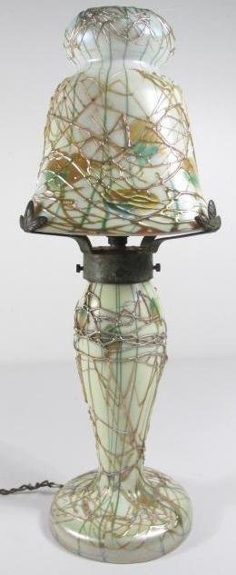 "RARE FOSTORIA ""HEART & VINE"" ART GLASS BOUDOIR LAMP"