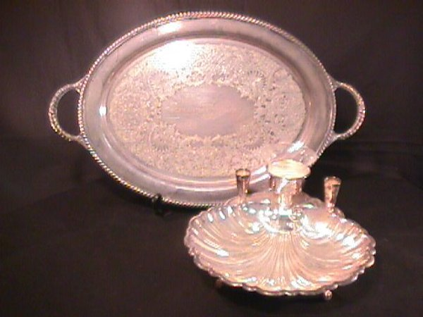 16: SILVER PLATE SHELL SEAFOOD SERVER TRAY GLASS CUP