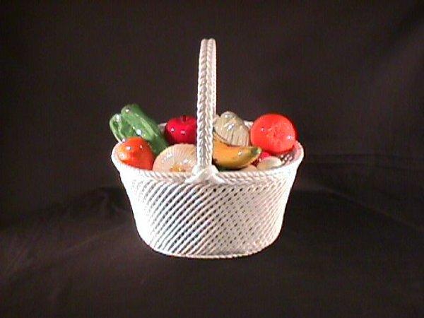 21: ITALIAN FAIENCE POTTERY BASKET FRUIT W/ VEGETABLES