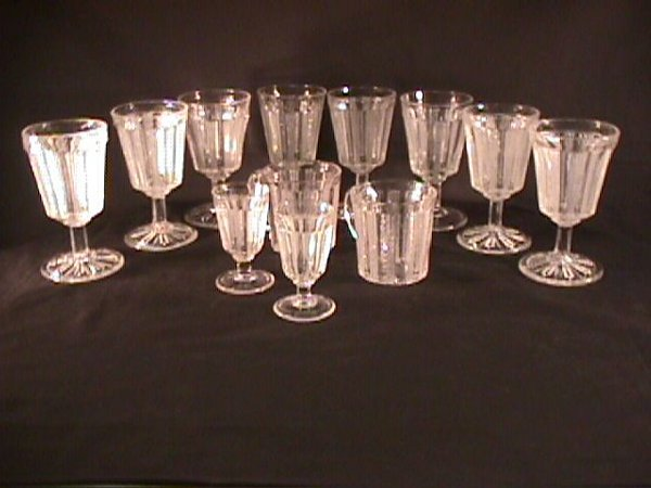 22: EARLY AMERICAN PATTERN GLASS GROUP STEMS CUPS