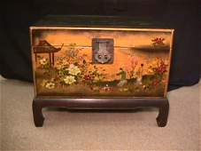 46: HAND PAINTED LEATHER ORIENTAL TRUNK ON STAND