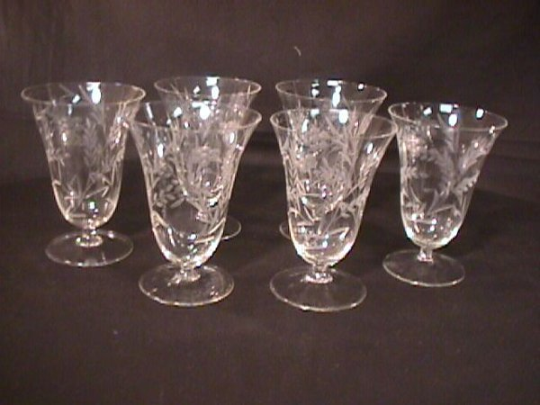 262: 6 VINTAGE CRYSTAL ETCHED GLASS WATER GLASSES
