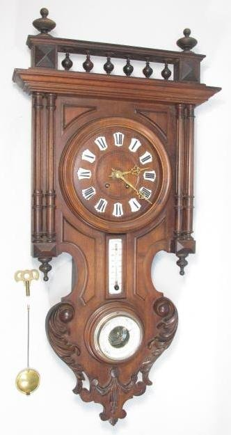 19TH C FRENCH CARVED WALNUT WALL CLOCK