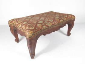 ANTIQUE BELGIUM FOOTSTOOL CARVED WOOD TAPESTRY