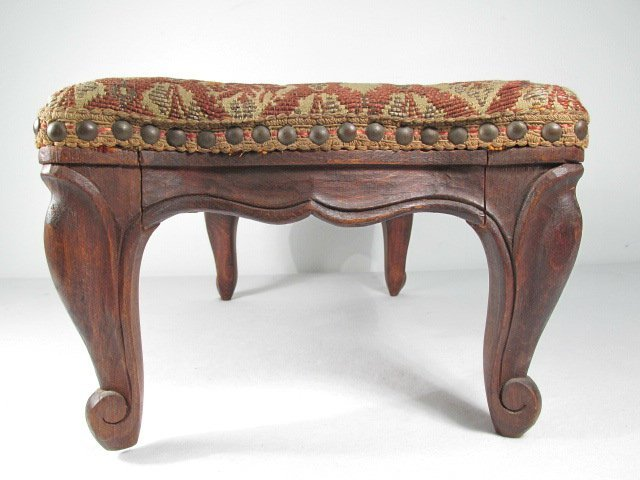 ANTIQUE BELGIUM FOOTSTOOL CARVED WOOD TAPESTRY - 2
