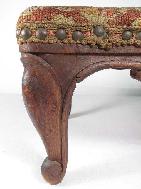 ANTIQUE BELGIUM FOOTSTOOL CARVED WOOD TAPESTRY - 3