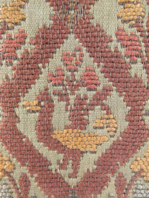ANTIQUE BELGIUM FOOTSTOOL CARVED WOOD TAPESTRY - 5