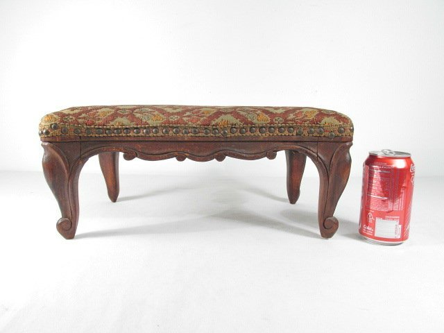 ANTIQUE BELGIUM FOOTSTOOL CARVED WOOD TAPESTRY - 8