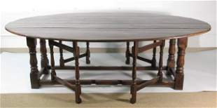 19TH C JACOBEAN STYLE DOUBLE DROP LEAF HARVEST TABLE