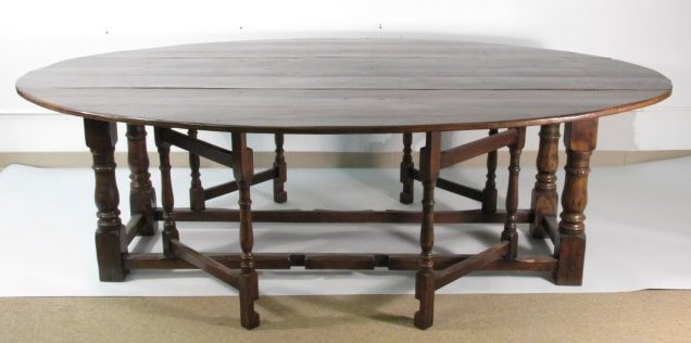 19TH C JACOBEAN STYLE DOUBLE DROP LEAF HARVEST TABLE