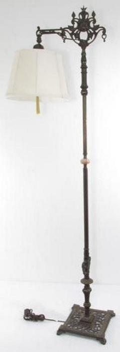 19TH C IRON, BRASS, & ONYX FLOOR LAMP