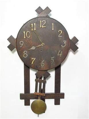 19TH C CARVED WALNUT WALL CLOCK