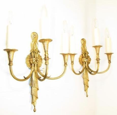 PAIR GILT METAL THREE ARM WALL SCONCES