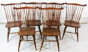 SET OF SIX ENGLISH WINDSOR SPINDLE FANBACK DINING CHAIR