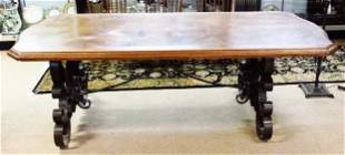 19TH C FRENCH INLAID WALNUT & SCROLLED IRON TABLE