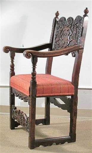 CONTINENTAL 19TH C CARVED WALNUT ARM CHAIR