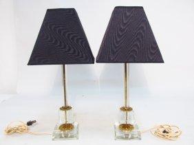 PAIR VINTAGE METAL MOUNTED CRYSTAL TABLE LAMPS