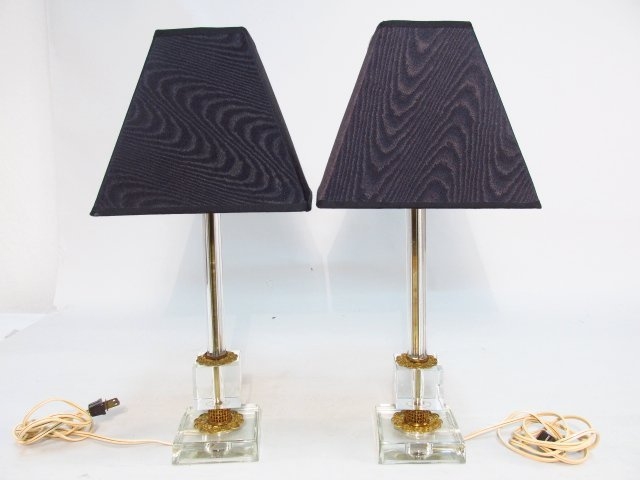 PAIR VINTAGE METAL MOUNTED CRYSTAL TABLE LAMPS