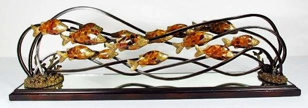 MAITLAND SMITH TIGER PENSHELL INLAID IRON SCULPTURE