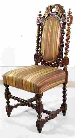 MID 19TH CENTURY CARVED OAK SIDE CHAIR