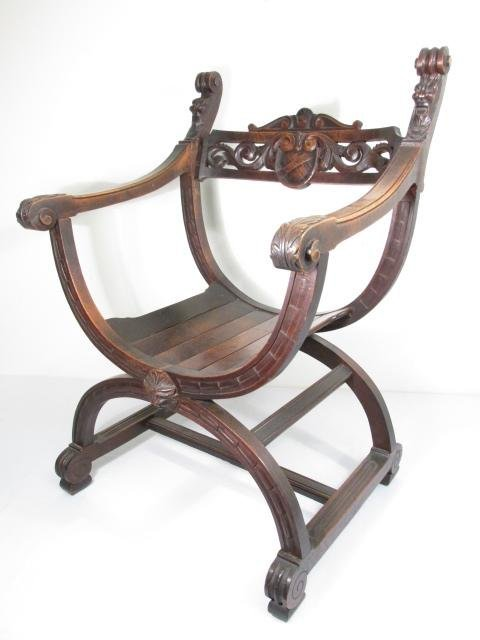 19TH C X-FRAME CARVED WALNUT BENCH