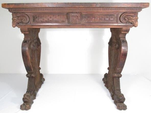 19TH C RENAISSANCE REVIVAL CARVED WALNUT TABLE