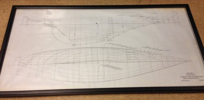 "FRAMED FREDERICK MAXFIELD HOYT YATCH DESIGN:  ""LINES"""