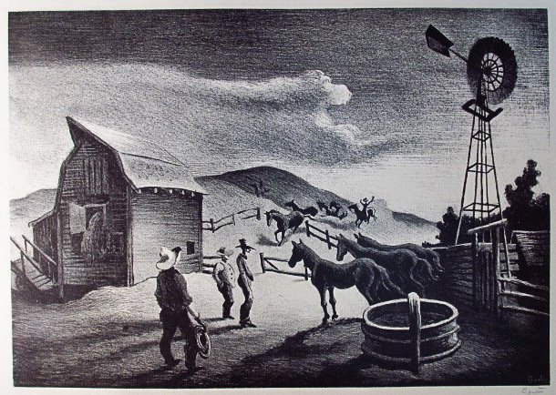 "THOMAS HART BENTON ORIGINAL LITHOGRAPH: ""THE CORRAL"""