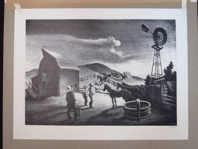 "THOMAS HART BENTON ORIGINAL LITHOGRAPH: ""THE CORRAL"" - 2"