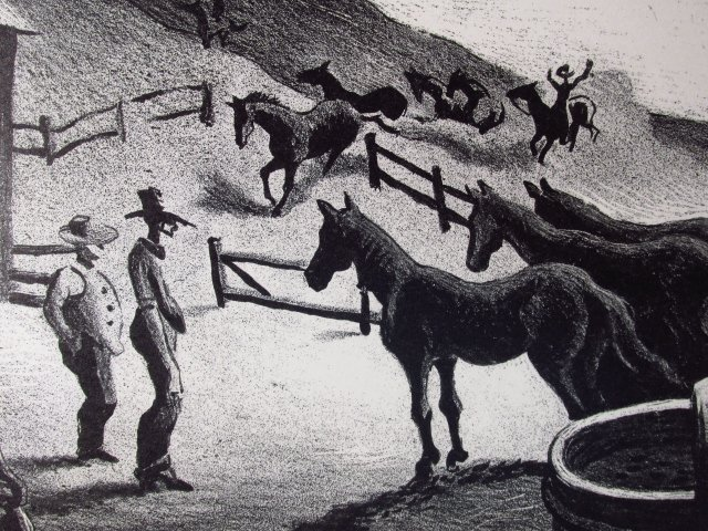 "THOMAS HART BENTON ORIGINAL LITHOGRAPH: ""THE CORRAL"" - 5"