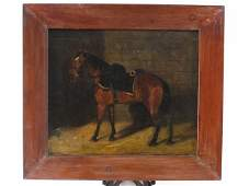 19TH C EQUESTRIAN STYLE OIL ON CANVAS PAINTING