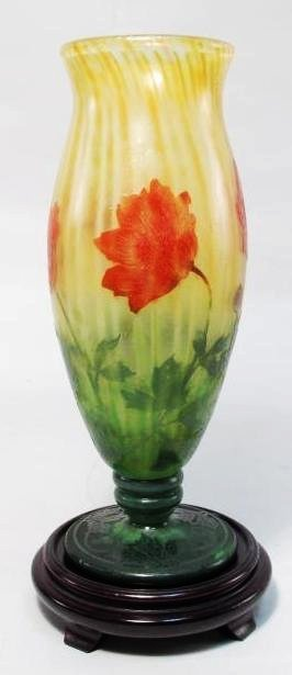 RARE DAUM NANCY FOOTED CAMEO GLASS VASE: POPPIES