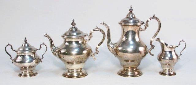 GORHAM FOUR PIECE STERLING SILVER TEA SET: 77.6 TROY