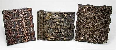 THREE 19TH C METAL  WOOD PRINTING BLOCKS