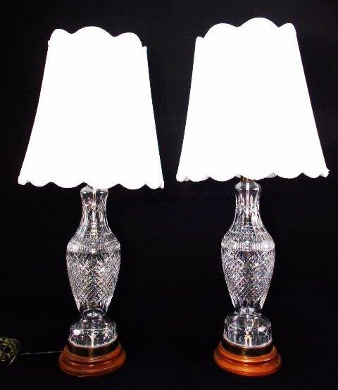 Vintage Pair Large Waterford Crystal Table Lamps