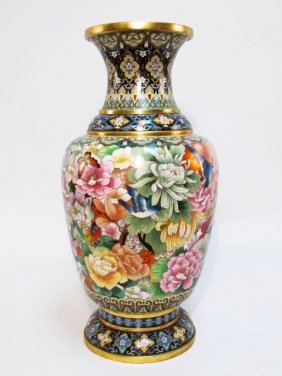 HUGE CHINESE JINGFA CLOISONNE VASE: FLOWER & BUTTERFLY