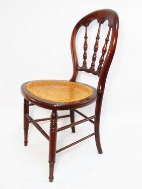 VICTORIAN CANE SEAT SPINDLE BALLOON BACK CHAIR