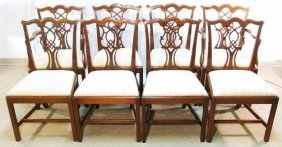 EIGHT CHIPPENDALE STYLE CARVED MAHOGANY DINING CHAIRS