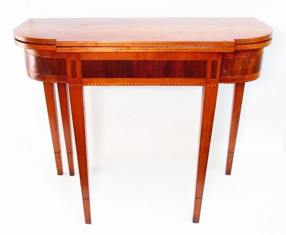 FEDERAL STYLE INLAID CHERRY FLIP TOP GAMES TABLE