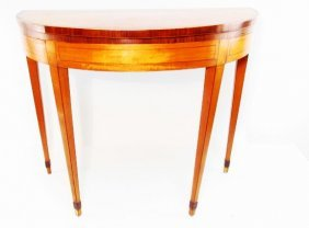 FEDERAL INLAID SATINWOOD DEMILUNE GAMES TABLE