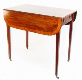 19TH C. SHERATON STYLE DROP LEAF INLAY SIDE TABLE
