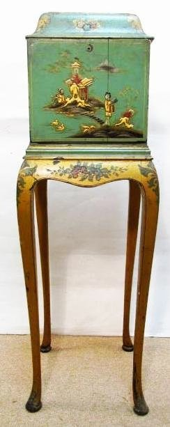 LATE 19TH C FRENCH GREEN CHINOISERIE TELEPHONE STAND