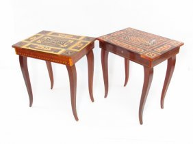 TWO ITALIAN MARQUETRY INLAID MUSIC BOX TABLES