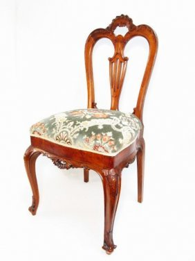 19TH C ROCOCO STYLE CARVED MAHOGANY SIDE CHAIR