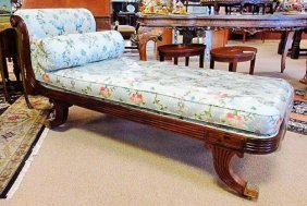 19TH C EMPIRE STYLE MAHOGANY CHAISE LOUNGE