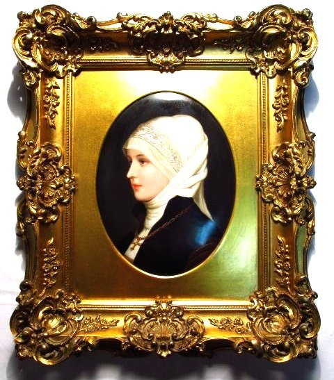 19TH C GERMAN HAND PAINTED PORCELAIN PLAQUE OF A YOUNG