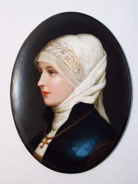 19TH C GERMAN HAND PAINTED PORCELAIN PLAQUE OF A YOUNG - 2