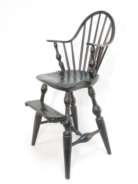 19TH C CHILD'S WINDSOR CURVED BACK HIGH CHAIR
