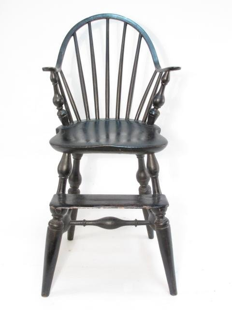 19TH C CHILD'S WINDSOR CURVED BACK HIGH CHAIR - 2